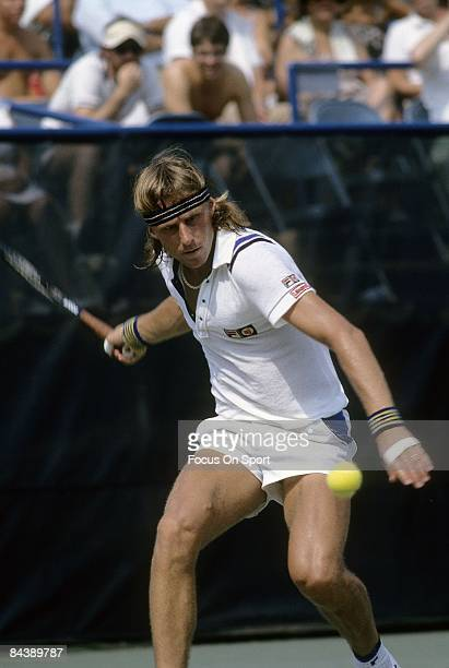 Tennis player Bjorn Borg from Sweden sets up for a forehand return against an opponent during the U.S. Open tennis tournament at the USTA National...