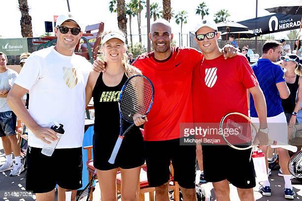 Tennis player Bob Bryan tennis player Victoria Azarenka actor Boris Kodjoe and tennis player Mike Bryan pose for portait at the 12th Annual Desert...