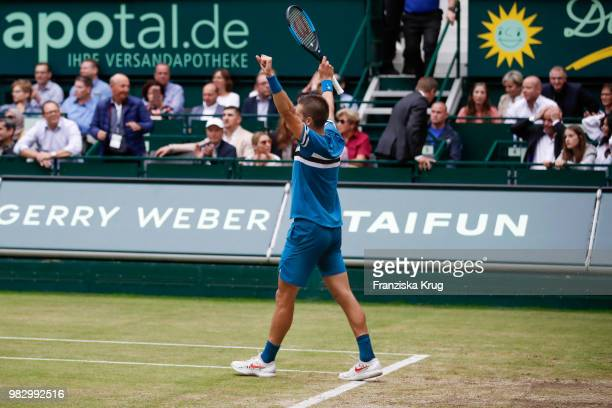 Tennis player Borna Coric of Croatia celebrates during the Gerry Weber Open 2018 at Gerry Weber Stadium on June 24 2018 in Halle Germany