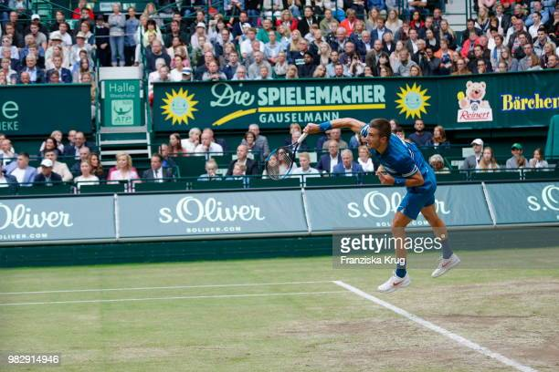 Tennis player Borna Coric of Croatia during the Gerry Weber Open 2018 at Gerry Weber Stadium on June 24 2018 in Halle Germany