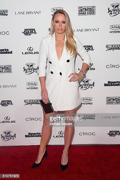 Tennis player Caroline Wozniacki attends the 2016 Sports Illustrated Swimsuit Launch Celebration at Brookfield Place on February 16 2016 in New York...