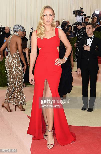 Tennis Player Caroline Wozniacki attends the Manus x Machina Fashion In An Age Of Technology Costume Institute Gala at Metropolitan Museum of Art on...