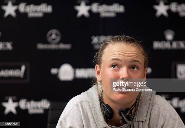 Tennis Player Caroline Wozniacki of Denmark attends a press conference at the WTA AllAccess Hour during the Mutua Madrilena Madrid Open tennis...