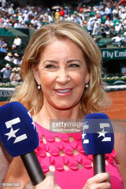 Tennis player Chris Evert answers to journalists before the Women Final of the 2018 French Open Day Fourteen at Roland Garros on June 9 2018 in Paris...