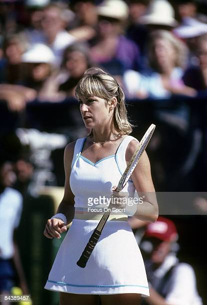 Tennis player Chris Evert Lloyd of the USA against Hana Mandlikova during the women finals of the 1980 US Open tennis tournament at the USTA National...