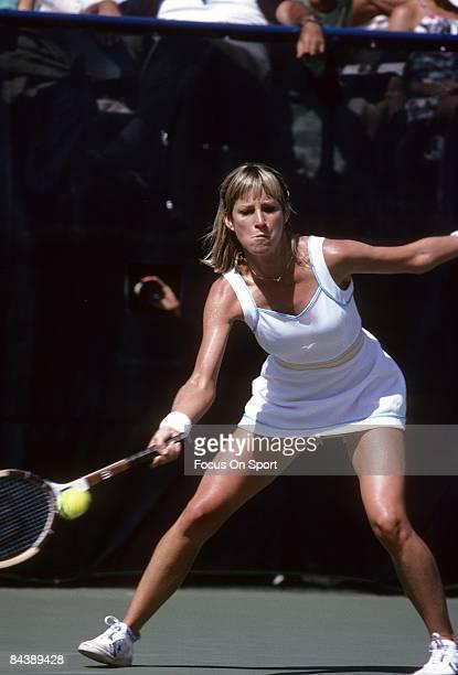 Tennis player Chris Evert Lloyd of the USA hits a forehand return against Hana Mandlikova during the women finals of the 1980 US Open tennis...