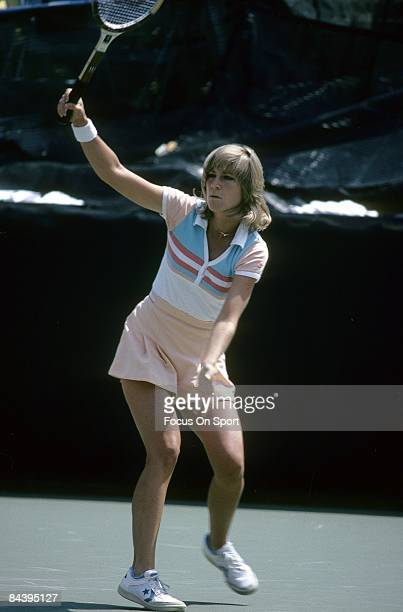 Tennis player Chris Evert Lloyd of the USA plays during the early rounds of the 1980 US Open tennis tournament at the USTA National Tennis Center in...