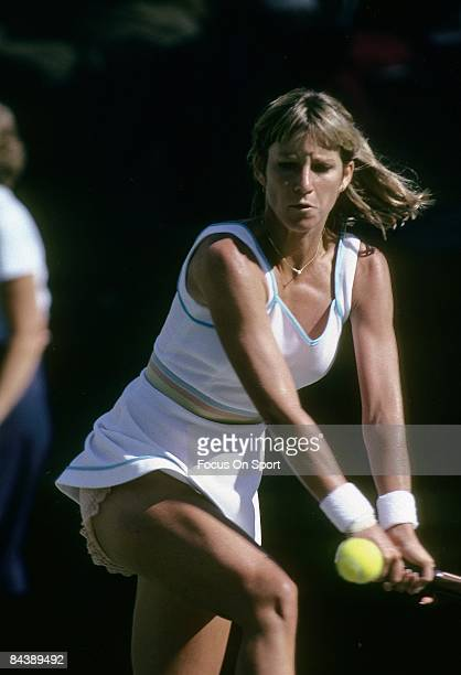 Tennis player Chris Evert Lloyd of the USA sets up for a backhand return against Hana Mandlikova during the women finals of the 1980 US Open tennis...