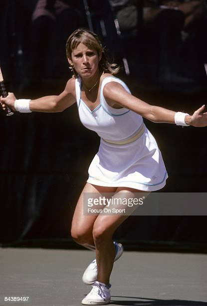 Tennis player Chris Evert Lloyd of the USA sets up for a forehand return against Hana Mandlikova during the women finals of the 1980 US Open tennis...