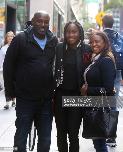 Tennis Player Coco Gauff is seen with her parents Corey Gauff and Candi Gauff on September 12 2019 in New York City