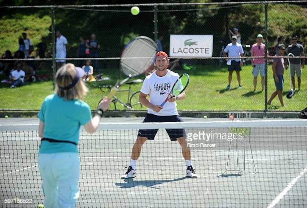 Tennis Player Denis Kudla LACOSTE And City Parks Foundation Host Tennis Clinic In Central Park at Central Park Tennis Center on August 28 2016 in New...