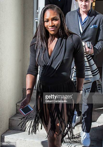 Tennis player/ designer Serena Williams is seen arriving at Serena Williams Signature Collection By HSN during Spring 2016 New York Fashion Week on...
