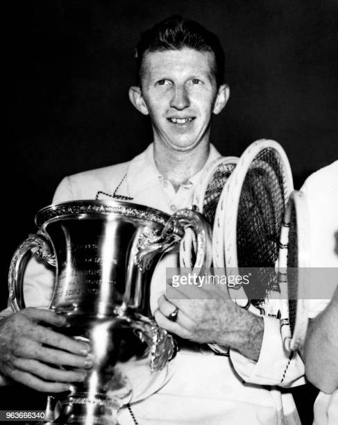US tennis player Donald Budge poses after winning the US Open Tennis Championships in NewYork on September 11 1937