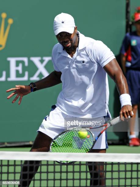 ATP tennis player Donald Young in action at the net during the second set of a match against Kei Nishikori on March 15 during the BNP Paribas Open...
