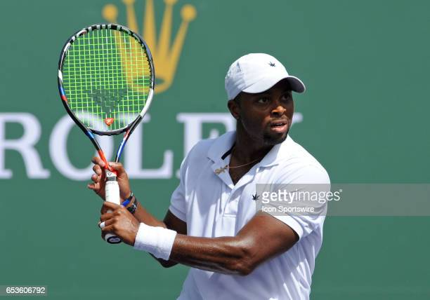 ATP tennis player Donald Young in action during the second set of a match against Kei Nishikori on March 15 during the BNP Paribas Open tournament...