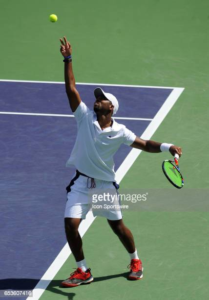 ATP tennis player Donald Young serving during a match against Kei Nishikori on March 15 during the BNP Paribas Open tournament played at the Indian...