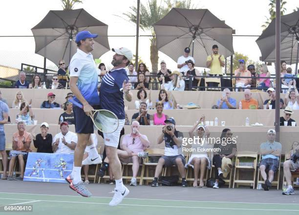 Tennis player doubles Mike Bryan and actor Jon Hamm celebrate at 13th Annual Desert Smash benefitting St Jude Children's Research Hospital on March 7...