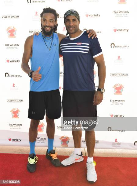 Tennis player Dustin Brown and actor Boris Kodjoe attend 13th Annual Desert Smash benefitting St Jude Children's Research Hospital on March 7 2017 in...