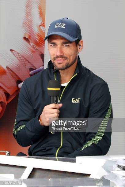 Tennis player Fabio Fognini answaers to journalists at France Television french chanel studio during the 2019 French Tennis Open - Day Three at...