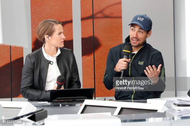 Tennis player Fabio Fognini answers to Justine Henin at France Television french chanel studio during the 2019 French Tennis Open - Day Three at...