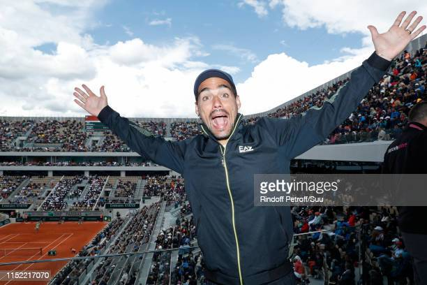 Tennis player Fabio Fognini poses at France Television french chanel studio during the 2019 French Tennis Open - Day Three at Roland Garros on May...