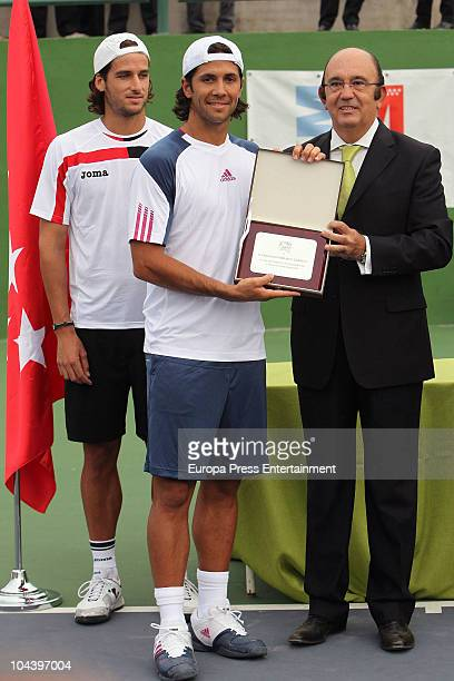 Tennis player Feliciano Lopez and Fernando Verdasco present new tennis courts belonging to Madrid Tennis Federation on September 23 2010 in Madrid...