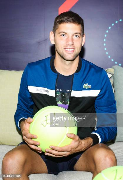 Tennis player Filip Krajinovic of Serbia attends a CCTV event on day six of the 2018 China Open on October 4 2018 in Beijing China
