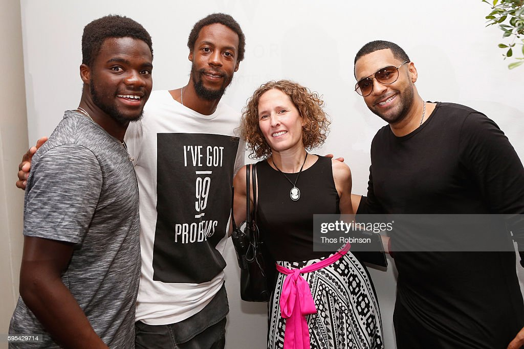 Tennis player Frances Tiafoe and Gael Monfils pose with DJ Mad Linx at the Taste Of Tennis New York on August 25, 2016 in New York City.