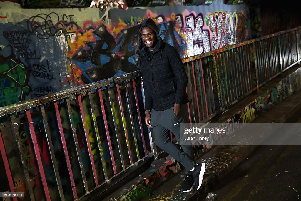 Tennis player Frances Tiafoe of USA poses for photos at Leake Street Tunnel on November 21, 2016 in London, England.