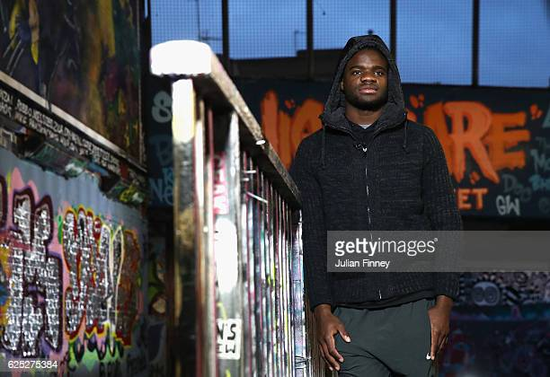 Tennis player Frances Tiafoe of USA poses for photos at Leake Street Tunnel on November 21 2016 in London England
