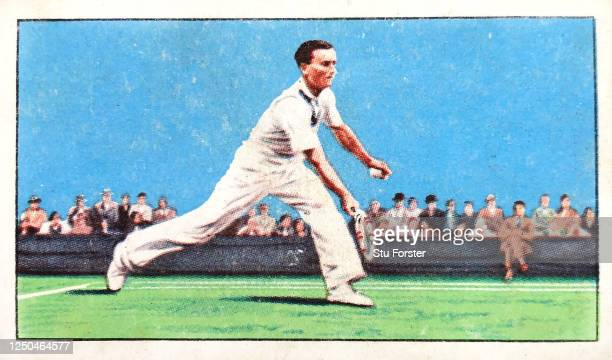 Tennis player Fred Perry illustrated on a Champion series Gallaher Tobacco Cigarette Card from 1934.