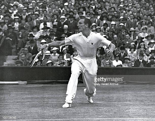 Tennis player Fred Perry in action during Tennis player Fred Perry in action during the men's singles final Wimbledon 5 July 1935 During his...