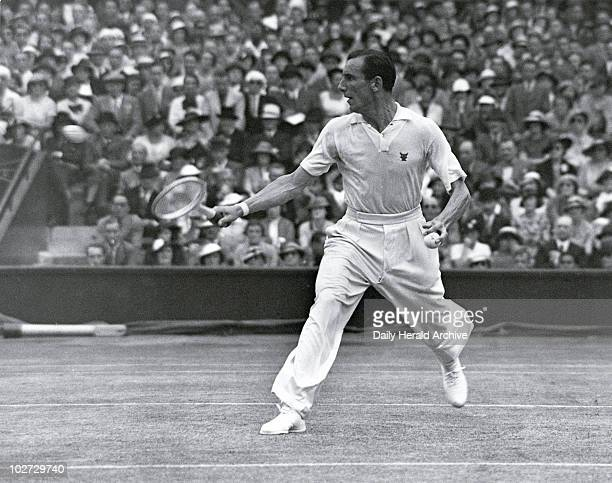 Tennis player Fred Perry in action during the men's singles final Wimbledon 5 July 1935 During his professional career Fred Perry won every major...