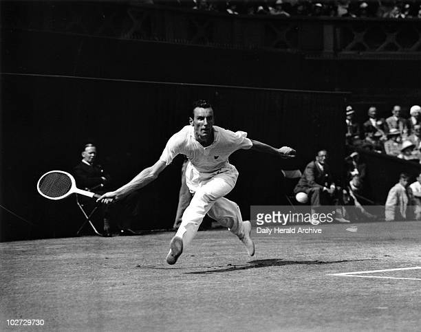Tennis player Fred Perry in action during Wimbledon 5 July 1935 ' During his professional career Fred Perry won every major amateur title including...