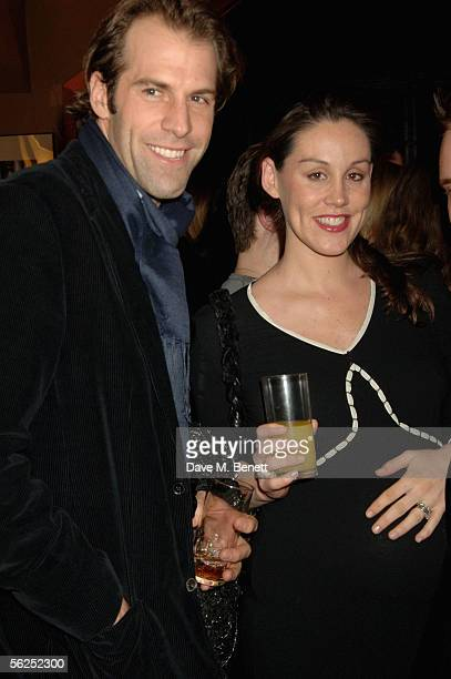 Tennis player Greg Rusedski and wife Lucy attend the backstage party following Darius Danesh's first night playing the role of lawyer Billy Flynn in...