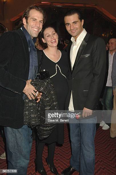 Tennis player Greg Rusedski his wife Lucy and Darius Danesh attend the backstage party following Darius Danesh's first night playing the role of...