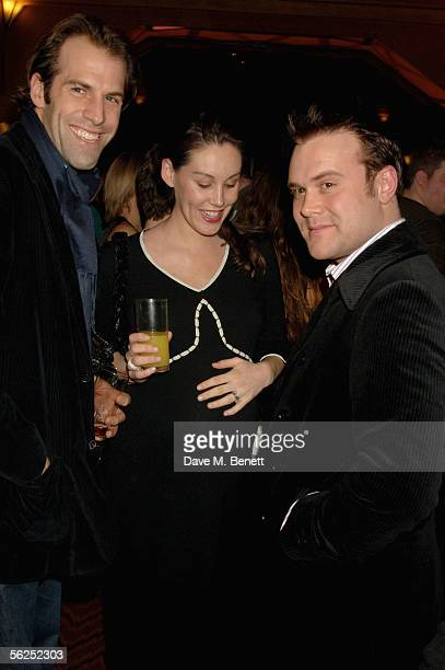 Tennis player Greg Rusedski his wife Lucy and musician Daniel Bedingfield attend the backstage party following Darius Danesh's first night playing...