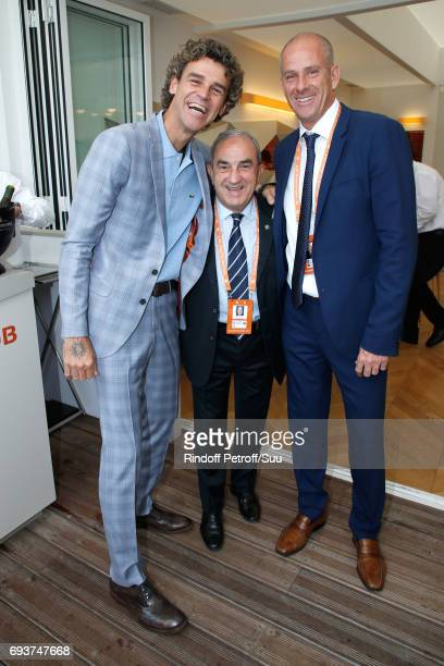 Tennis Player Gustavo Kuerten Jean Gachassin and Director of Roland Garros tournament Guy Forget attend the 2017 French Tennis Open Day Twelve at...