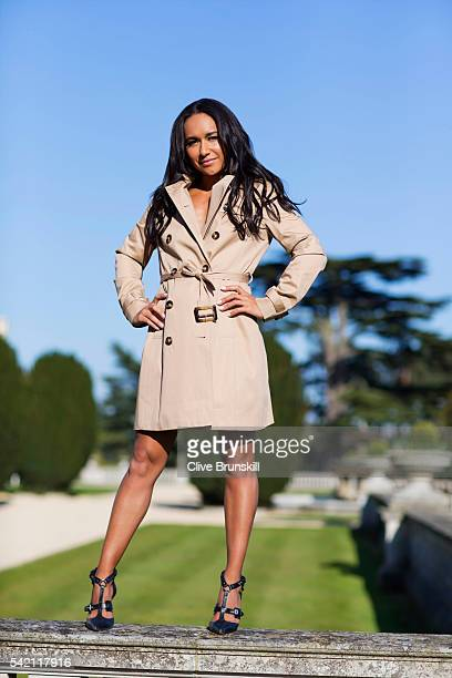 Tennis player Heather Watson is photographed at Stoke Park Country Club on April 19 2016 in Maidenhead England Trench coat Marks Spencer Shoes JF...