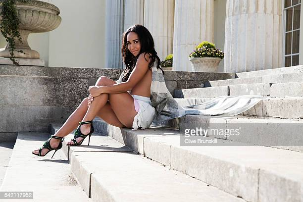 Tennis player Heather Watson is photographed at Stoke Park Country Club on April 19 2016 in Maidenhead England Shorts Alexander Wang Scarf Belstaff...
