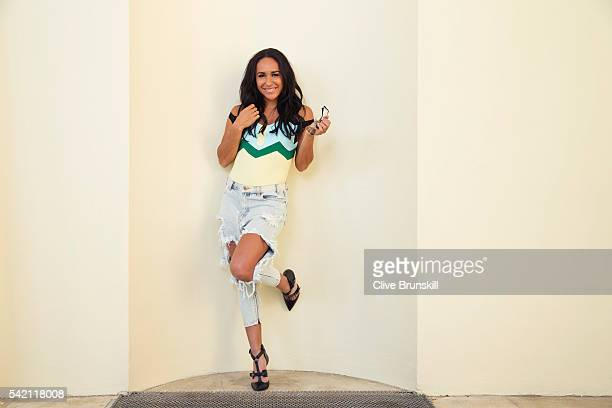 Tennis player Heather Watson is photographed at Stoke Park Country Club on April 19, 2016 in Maidenhead, England. Swimwear- Peter Pilot, Jeans- One...