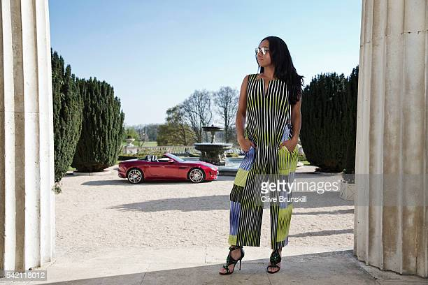 Tennis player Heather Watson is photographed at Stoke Park Country Club on April 19 2016 in Maidenhead England Jump suit Issey Miyake shoes JF London...