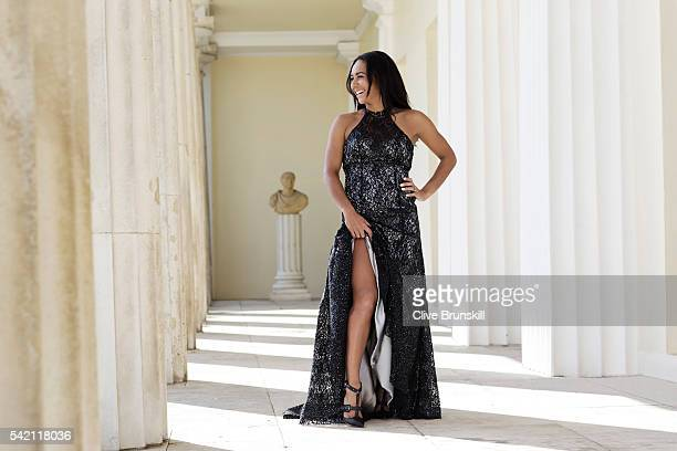 Tennis player Heather Watson is photographed at Stoke Park Country Club on April 19 2016 in Maidenhead England Dress Caroline Castigliano shoes JF...