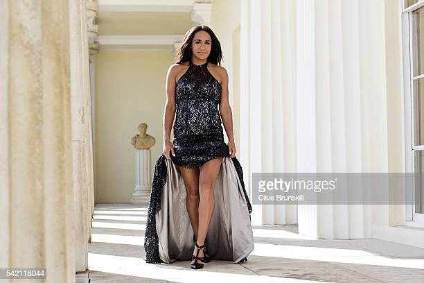 Tennis player Heather Watson is photographed at Stoke Park Country Club on April 19, 2016 in Maidenhead, England. Dress- Caroline Castigliano, shoes-...