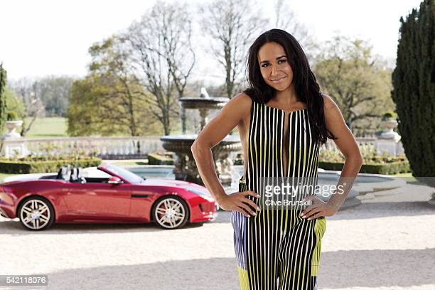 Tennis player Heather Watson is photographed at Stoke Park Country Club on April 19 2016 in Maidenhead England Jump suit Issey Miyake shoes JF London