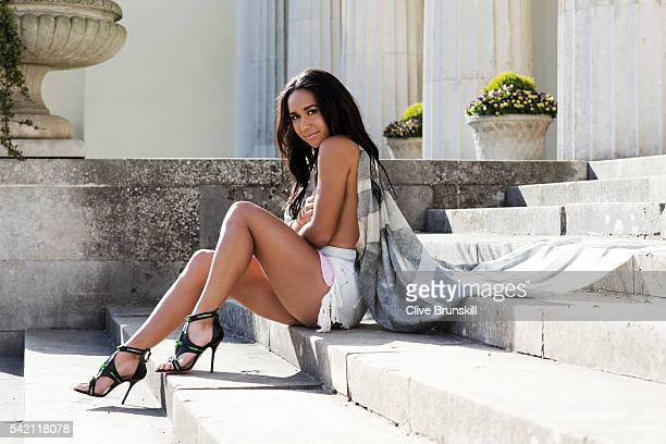 Tennis player Heather Watson is photographed at Stoke Park Country Club on April 19, 2016 in Maidenhead, England. Shorts- Alexander Wang, Scarf-...