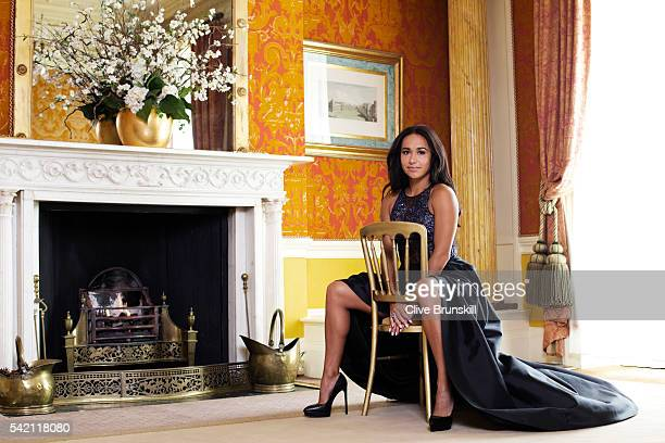 Tennis player Heather Watson is photographed at Stoke Park Country Club on April 19 2016 in Maidenhead England Dress Caroline Castigliano Shoes Saint...