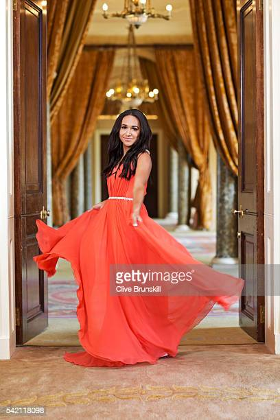 Tennis player Heather Watson is photographed at Stoke Park Country Club on April 19, 2016 in Maidenhead, England. Dress- Caroline Castigliano.
