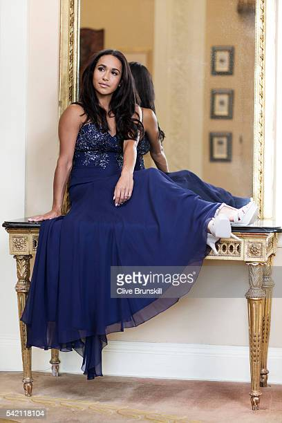 Tennis player Heather Watson is photographed at Stoke Park Country Club on April 19, 2016 in Maidenhead, England. Dress- Caroline Castiglian, Shoes-...