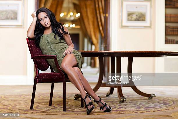 Tennis player Heather Watson is photographed at Stoke Park Country Club on April 19 2016 in Maidenhead England Dress Alexander Wang Shoes JF London...